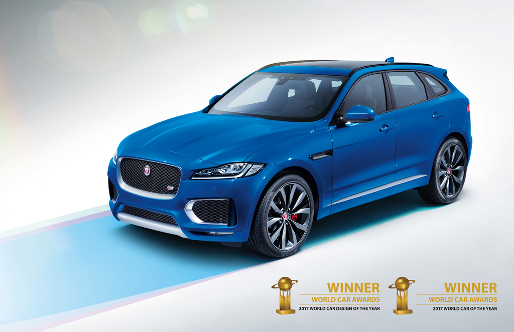 JAGUAR F-PACE LAUREATEM NAGRODY WORLD CAR OF THE YEAR 2017 ORAZ WORLD CAR DESIGN OF THE YEAR 2017